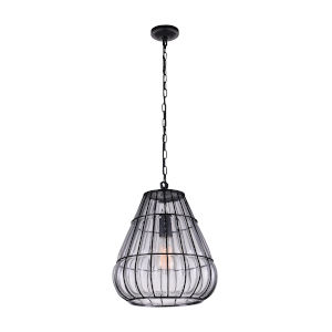 Escot Black and Wood One-Light 14-Inch Pendant with Clear Glass