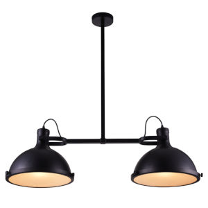 Strum Black Two-Light Chandelier with Clear Glass
