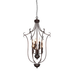 Maddy Rubbed Brown Nine-Light Chandelier