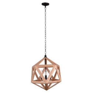 Lante Black and Wood Three-Light Pendant