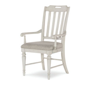 Brookhaven Vintage Linen Rustic Dark Elm Arm Chair, Set of Two