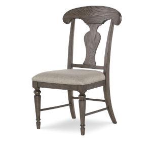 Brookhaven Vintage Linen Rustic Dark Elm Splat Side Chair, Set of Two