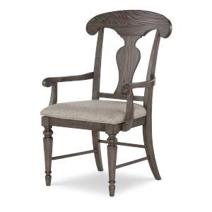 Brookhaven Vintage Linen Rustic Dark Elm Splat Back Arm Chair, Set of Two