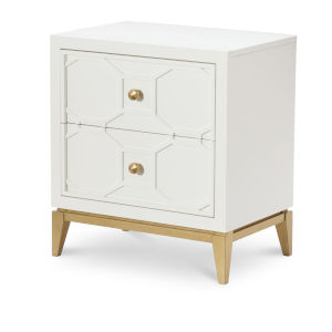Chelsea by Rachael Ray White with Gold Accents Kids Nightstand with Decorative Lattice