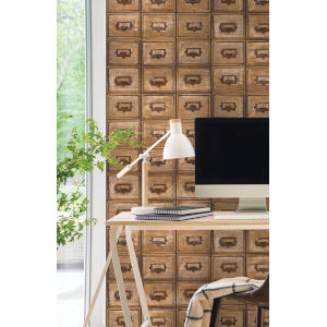 NextWall Library Card Catalog Peel and Stick Wallpaper