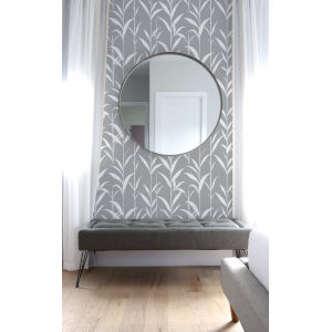 NextWall Gray Bamboo Leaves Peel and Stick Wallpaper