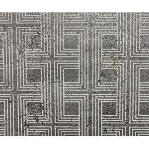 Casa Blanca 2 Metallic Silver and Off White Interlocking Squares Cork Unpasted Wallpaper