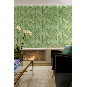 Living with Art Chartreuse and Basil Geo Inlay Unpasted Wallpaper