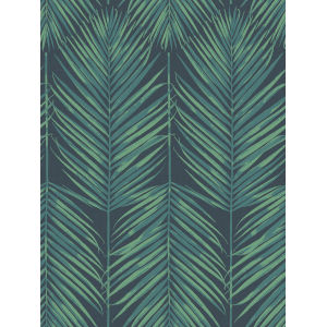 Beach House Tropic Green and Midnight Paradise Palm Unpasted Wallpaper
