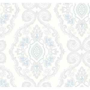 Beach House Blue Oasis Nautical Damask Unpasted Wallpaper