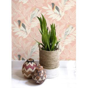 Boho Rhapsody Pink Sunset and Ivory Paradise Island Birds Unpasted Wallpaper