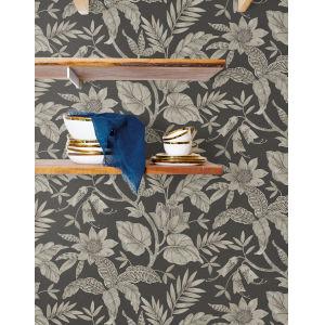 Boho Rhapsody Brushed Ebony and Stone Rainforest Leaves Unpasted Wallpaper