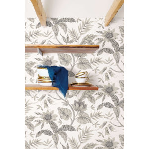 Boho Rhapsody Ivory and Stone Rainforest Leaves Unpasted Wallpaper