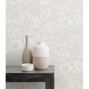 Boho Rhapsody Sand Dune and Brushed Taupe Rainforest Leaves Unpasted Wallpaper