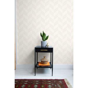 Boho Rhapsody Gray Mist and Ivory Boho Chevron Stripe Unpasted Wallpaper