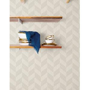 Boho Rhapsody Cinder Gray and Ivory Boho Chevron Stripe Unpasted Wallpaper