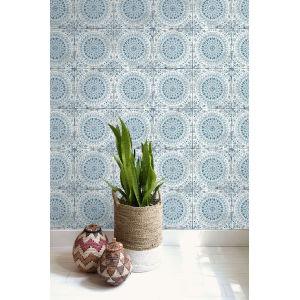 Boho Rhapsody Cerulean and Washed Denim Mandala Boho Tile Unpasted Wallpaper