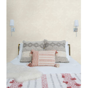 Boho Rhapsody Light Pink and White Paradise Leaves Unpasted Wallpaper