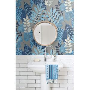 Boho Rhapsody Metallic Gray, Sky Blue and Champlain Tropicana Leaves Unpasted Wallpaper