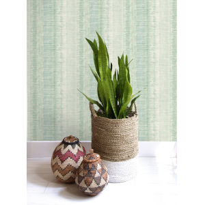 Boho Rhapsody Washed Jade and Aloe Tikki Natural Ombre Unpasted Wallpaper