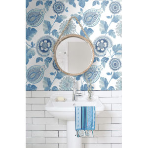 Boho Rhapsody Blue Oasis and Ivory Calypso Paisley Leaf Unpasted Wallpaper