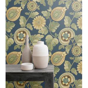 Boho Rhapsody Champlain Blue and Rosemary Calypso Paisley Leaf Unpasted Wallpaper