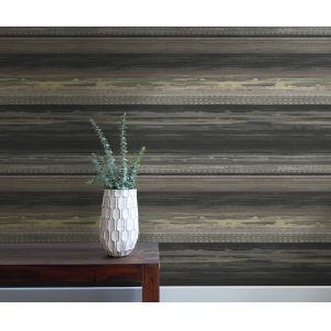 Boho Rhapsody Brushed Ebony, Walnut and Gray Horizon Brushed Stripe Unpasted Wallpaper