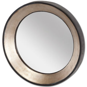Ovallas Champagne Round Wood Frame Wall Mirror
