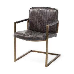 Horner Black and Brass Leather Seat Arm Chair