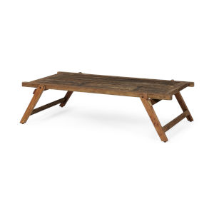 Armee II Natural Brown Rectangular Reclaimed Coffee Table
