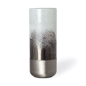 Baltic I White and Brushed Silver Glass Vase