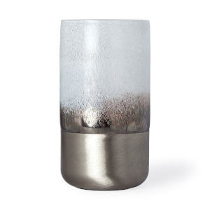 Baltic II White and Brushed Silver Glass Vase