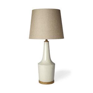 Rebecca White Crackled One-Light Ceramic Table Lamp