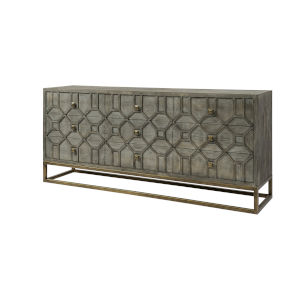 Genevieve II Brown and Gold Solid Wood Nine Drawer Sideboard
