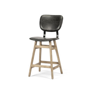 Haden Brown and Black Upholstered Seat Counter Height Stool