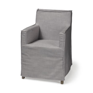 Elbert II Gray and Brown Slip-Cover Parson Dining Chair