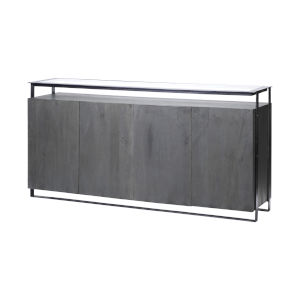 Vidro III Gray Glass Top Solid Wood Sideboard