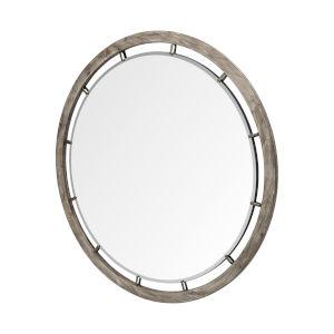 Sonance Brown Round Wood Frame Mirror