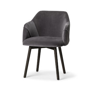 Ronald II Gray Velvet and Black Dining Arm Chair