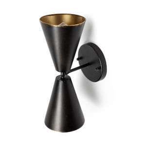 Eris II Black and Gold Two-Light Wall Sconce