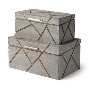 Niobe Gray Wooden Nesting Box, Set of Two