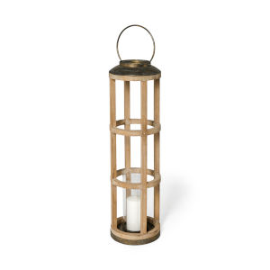 Andy I Brown Cylindrical Candle Holder Lantern