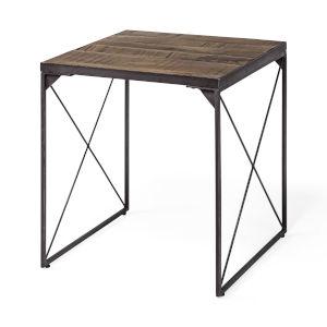 Trestman II Medium Brown Square Top Cross Braced End Table
