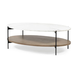 Larkin I Black and White Oval Marble Top Coffee Table