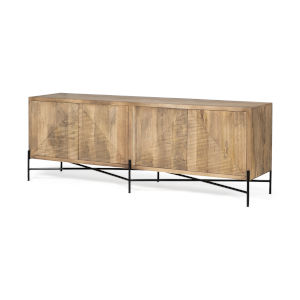 Cairo Brown and Black Solid Wood Four Door Sideboard