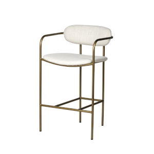 Parker Gold and Cream Upholstered Seat Counter Height Stool