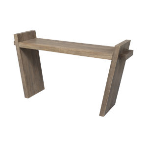 Elaine III Medium Brown Solid Wood Angled Leg Console Table