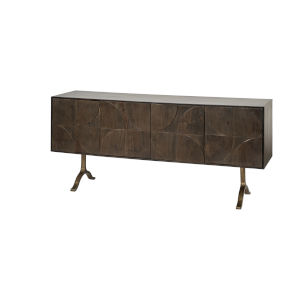 Xanti Brown and Gold Solid Wood Four-Door Sideboard