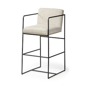 Stamford Cream and Black Upholstered Seat Bar Height Stool