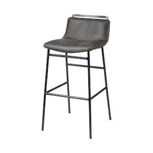 Kavalan Ebony Black Leather Seat Bar Height Stool